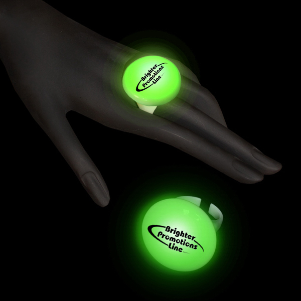 Printed Green LED Light Up Glow Button Ring