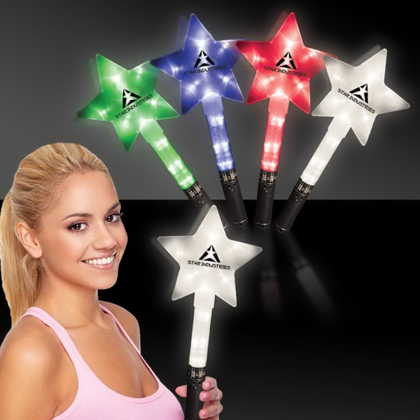 "Customized Huge 12"" Flashing LED Light Up Glow Star Wand"