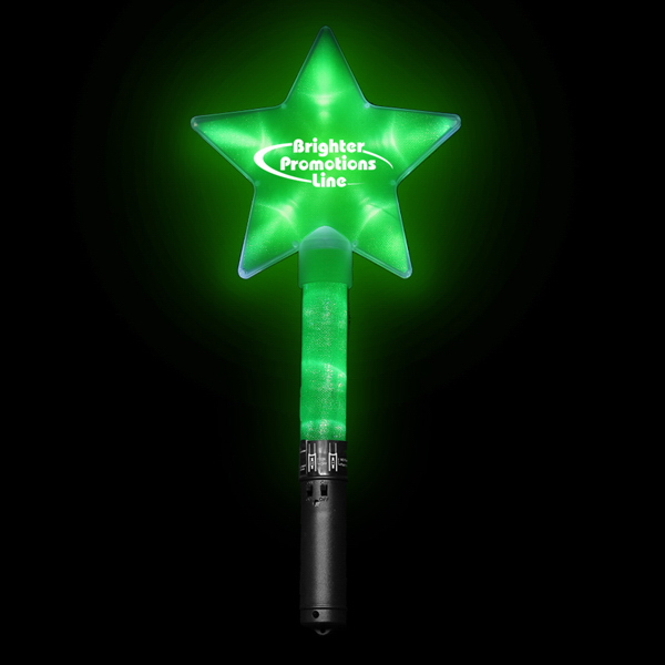 "Custom Huge Green 12"" Flashing Light Up Glow LED Star Wand"
