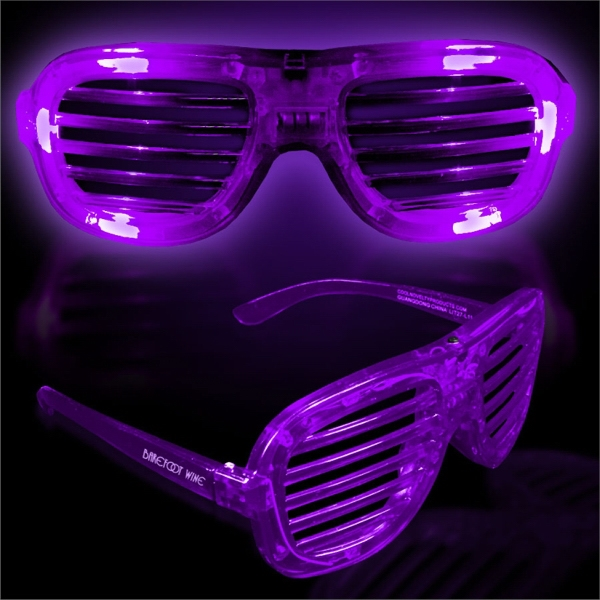 Imprinted Purple Light-Up Glow LED Slotted Glasses