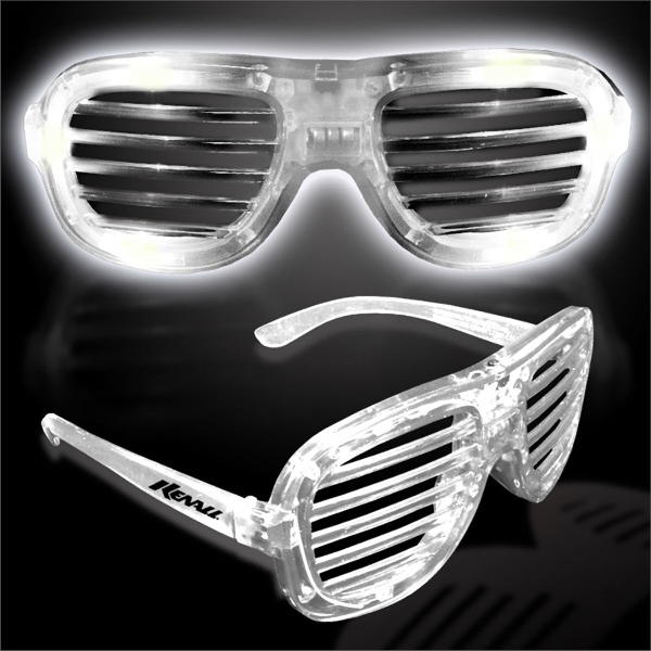 Imprinted White Light Up Glow LED Slotted Glasses