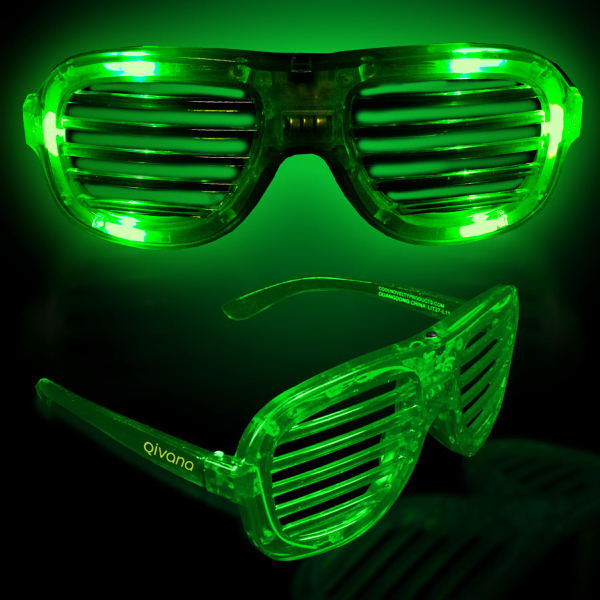 Imprinted Green Light Up Glow LED Slotted Glasses