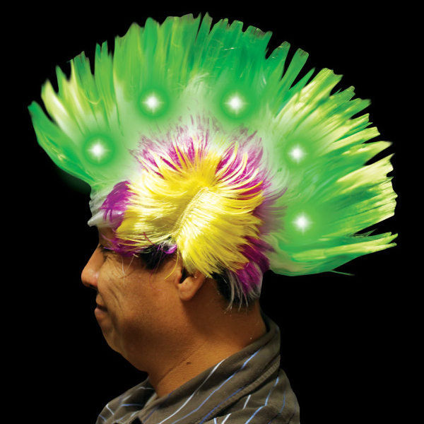 Imprinted Multi Color Light Up LED Mohawk Costume Wig