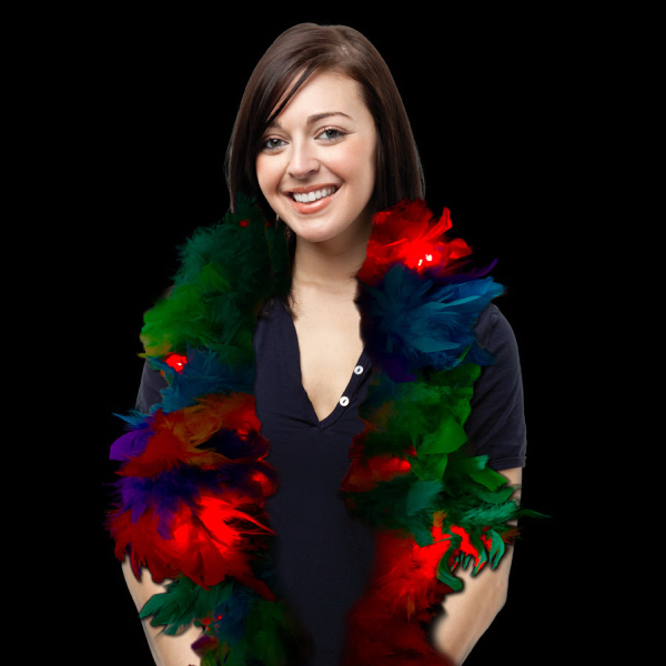 Personalized Multi Color LED Lighted Glow Feather Boa