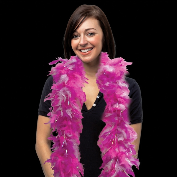 Customized Pink & White Feather Boa with Silver Tinsel