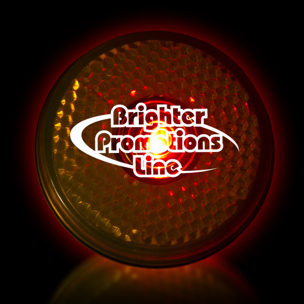 "Customized Yellow 2"" Light Up Glow LED Safety Reflector"