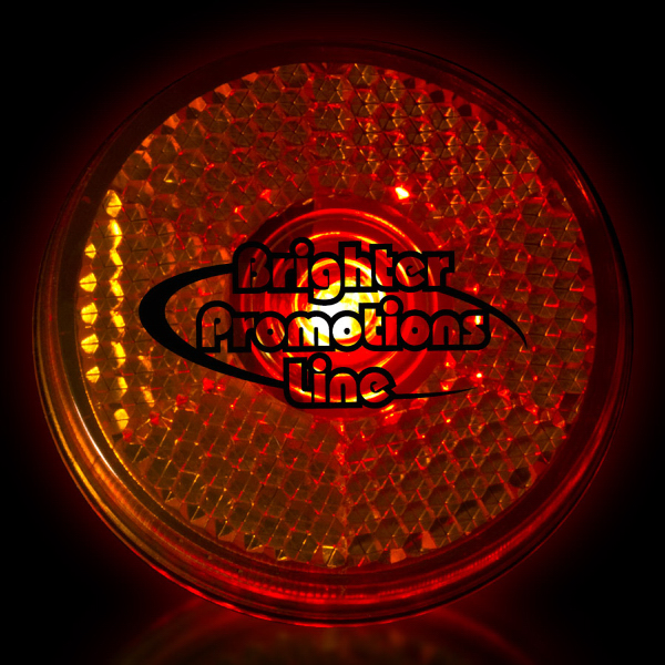 "Customized Orange 2"" Light Up LED Glow Safety Reflector"