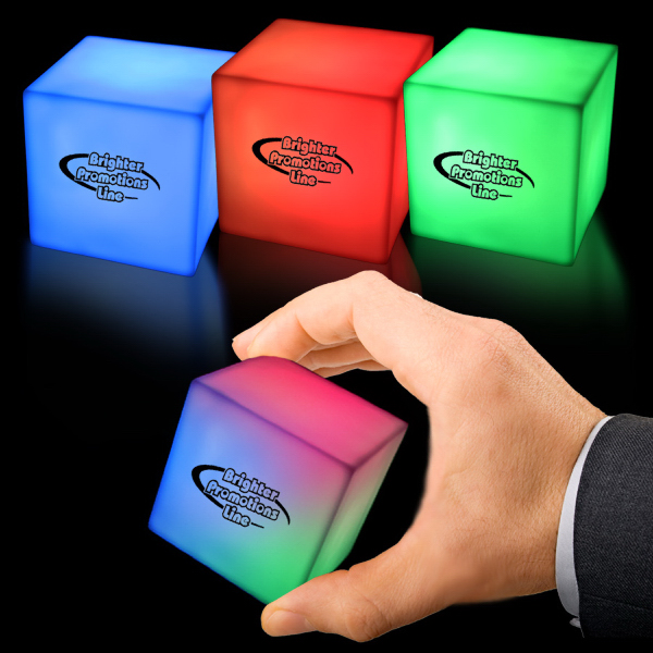 Printed Cube Square Multi Color Light Up Glow LED Shape