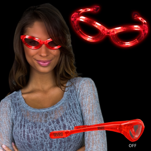Customized Red Light Up Glow Flashing LED Glasses