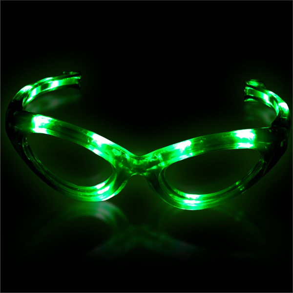 Printed Green Light Up Glow Flashing LED Glasses