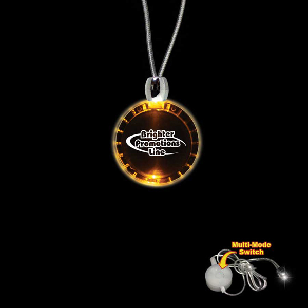 Printed Bottle Cap Amber Light-Up LED Acrylic Pendant Necklace