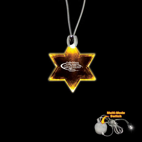 Customized Star of David Amber Light-Up LED Acrylic Pendant Necklace