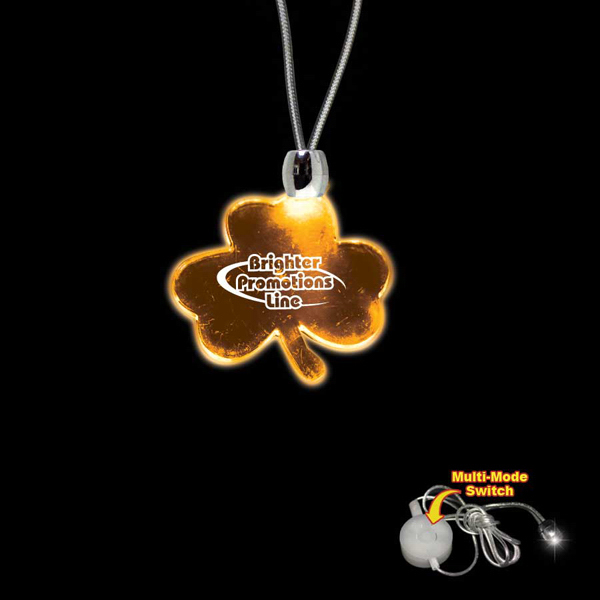 Imprinted Shamrock Amber Light-Up LED Acrylic Pendant Necklace
