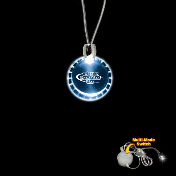 Custom Bottle Cap Blue Light-Up Acrylic Pendant Necklace