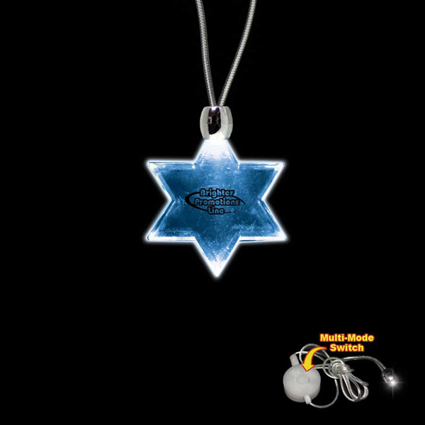Printed Star of David Blue Light-Up Acrylic Pendant Necklace