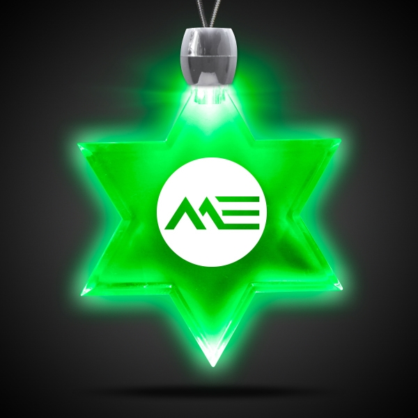 Personalized Star of David Green Light-Up Acrylic Pendant Necklace