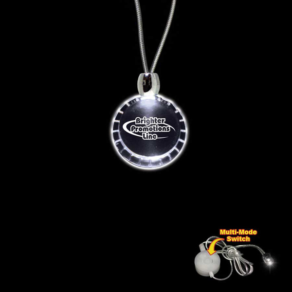 Customized Bottle Cap White Light-Up Acrylic Pendant Necklace