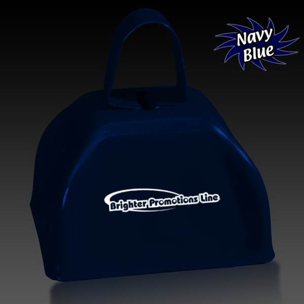"Imprinted Navy Blue 3"" Metal Cowbell"