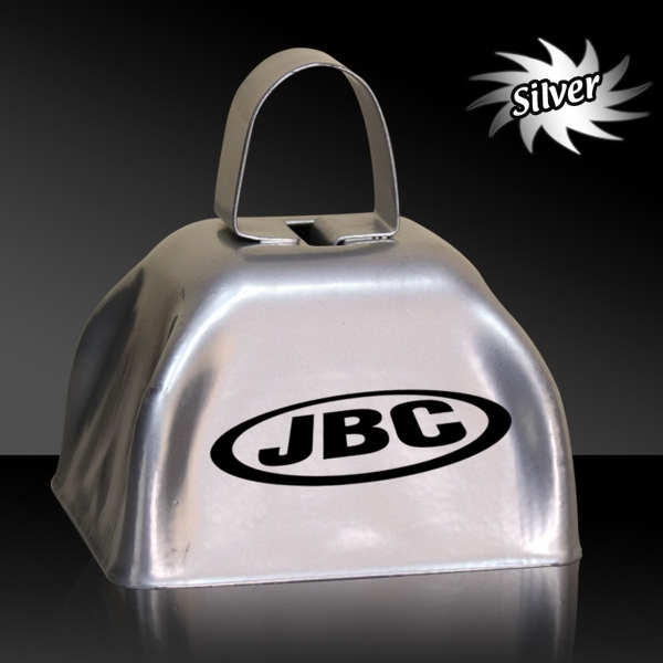 "Imprinted Silver 3"" Metal Cowbell"