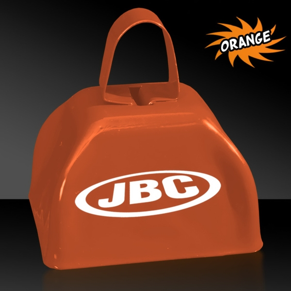 "Printed Orange 3"" Metal Cowbell"