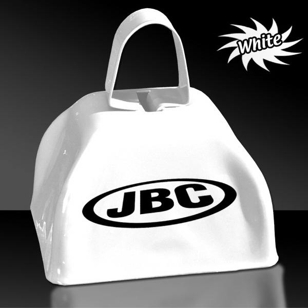 "Custom White 3"" Metal Cowbell"