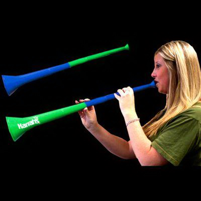 Imprinted Green & Blue Bi-Color Collapsible Stadium Horns