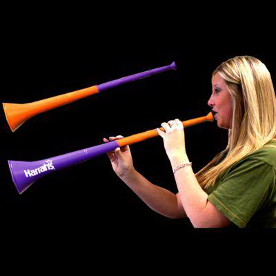 Customized Orange & Purple Bi-Color Collapsible Stadium Horns