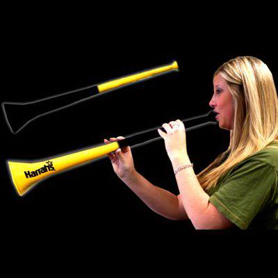 Imprinted Yellow & Black Bi-Color Collapsible Stadium Horns