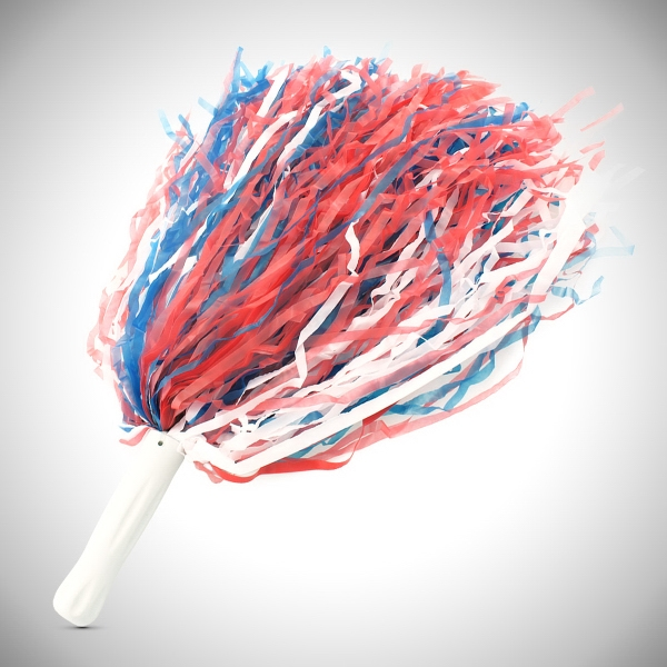"Printed Red White & Blue 16"" Plastic Pom Pom"