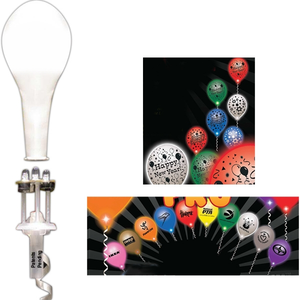 Personalized Assorted Colored LED with White Balloon