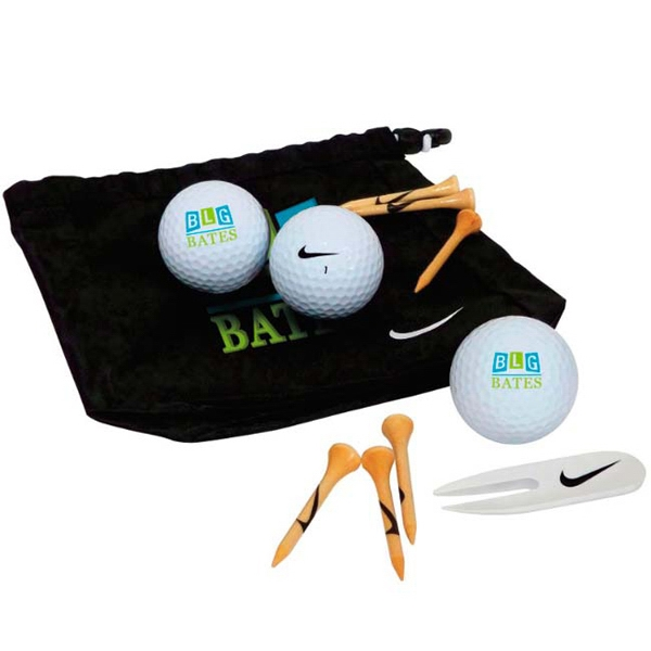 Customized Nike (R) Golf Valuables Pouch 3-Ball Kit - Power Distance