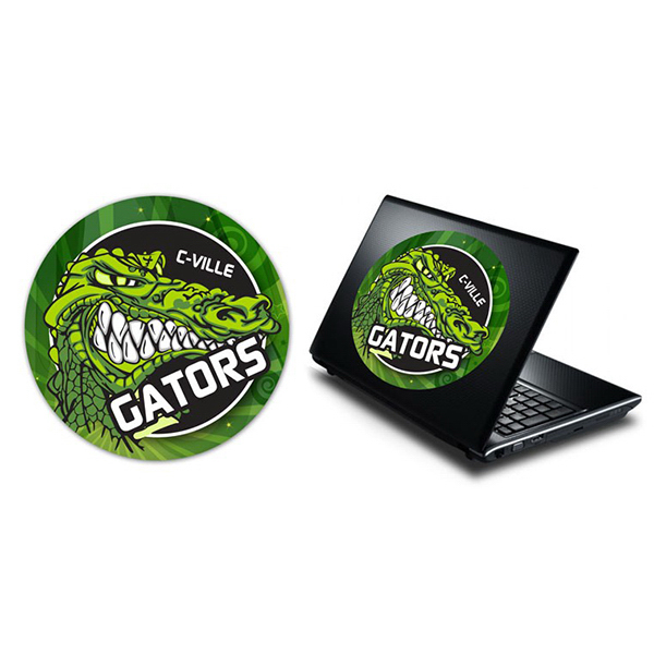 Imprinted Laptop Skin Circle Sticker - Vinyl UV Coated - 8.5 Inch