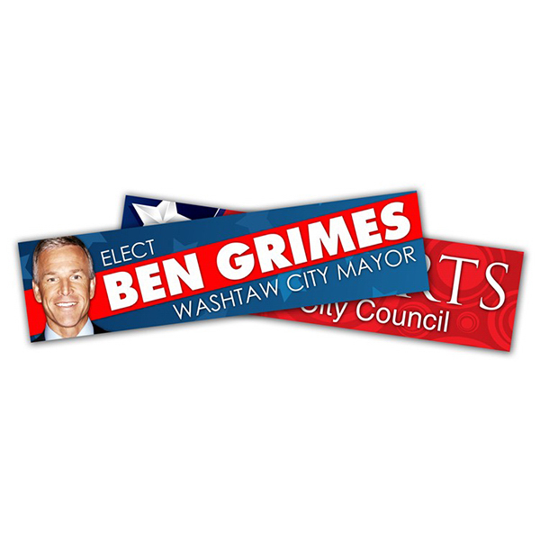 Promotional Political Campaign Bumper Sticker - Vinyl UV Coated