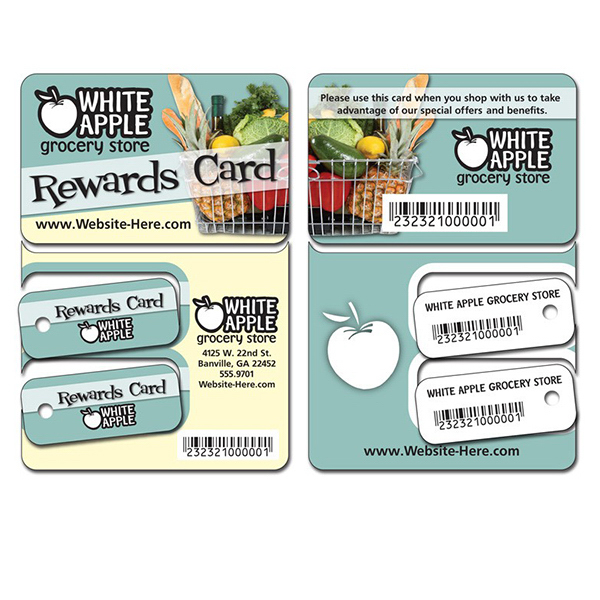 Promotional Extra-Thick UV-Coated (1S) Plastic Key Tag/Wallet Card Combo