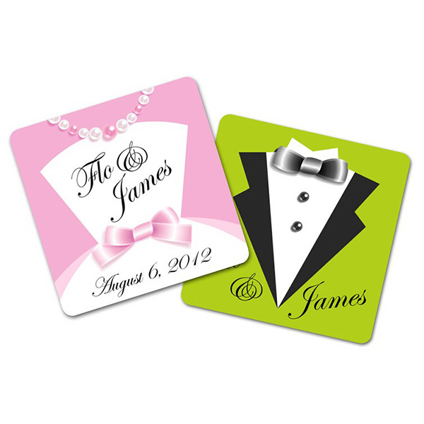 "Personalized Wedding Paperboard Square Coaster - 3.75"" x 3.75"""