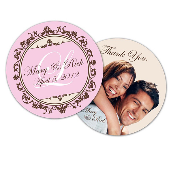 Promotional Wedding Paperboard Circle Coaster - 3.75 Inch Diameter
