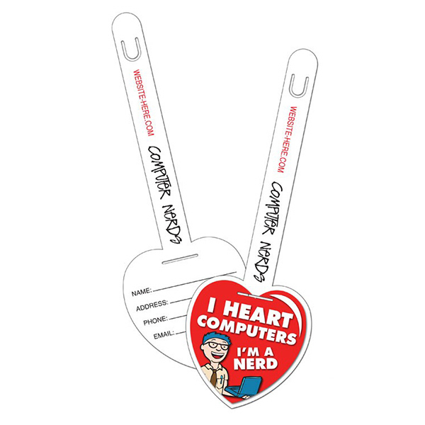 Custom Plastic Heart I.D. Tag UV-Coated (1S) - 3.25x9.5