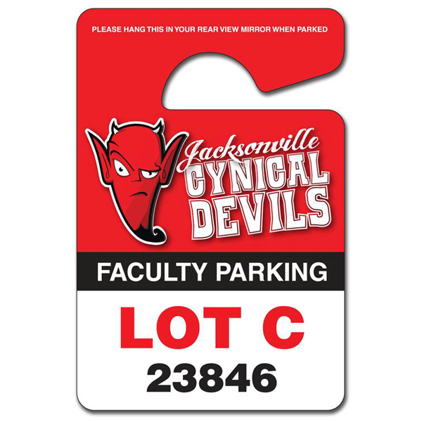 Imprinted Plastic Hang Tag / Parking Permit Extra Thick- 3x4.5