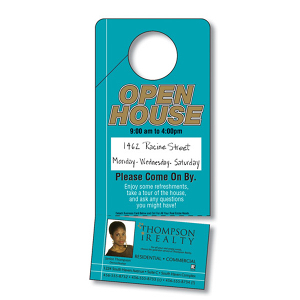 Printed Door Hanger -UV-Coated (1S) / Slit, Detachable Business Card
