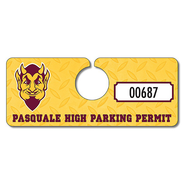 Personalized School Plastic Hang Tag / Parking Permit- 2x5 - UV Coated