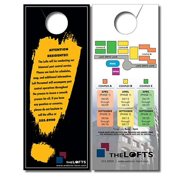Personalized Door Hanger - 4x10 UV-Coated (1S) with Slit - 10 pt