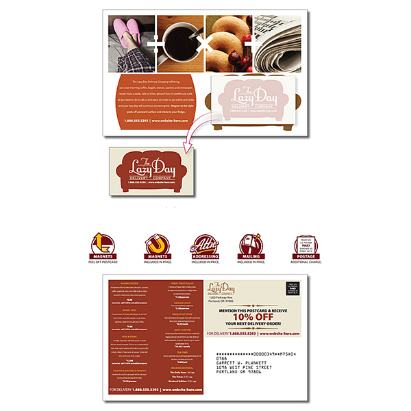 Personalized Delivery Magna-Peel Postcard with Business Card Magnet