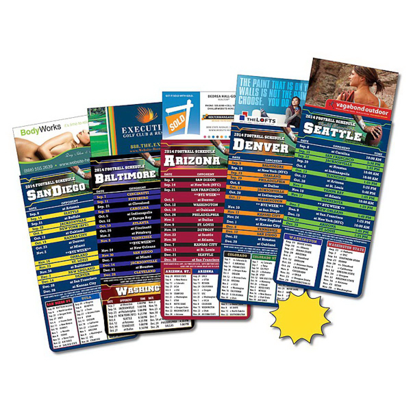 Personalized Magna-Card Business Card Magnet - Football Schedules (3.5x9)