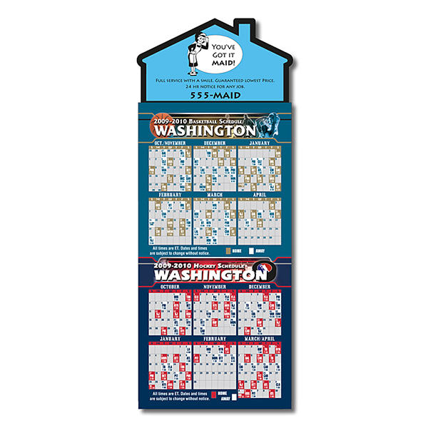 Personalized Magna-Card House Shape Magnet - Basketball/Hockey Schedules