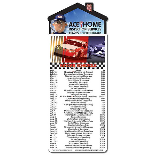Customized Magna-Card House Shape Magnet - NASCAR Schedules