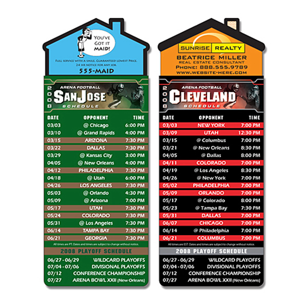 Printed Magna-Card House Shape Magnet - Arena Football Schedules