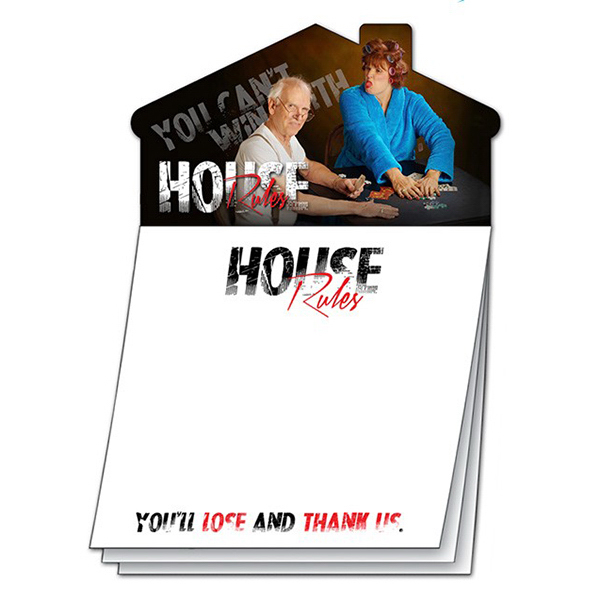 Promotional Custom Magna-Note - 50-Sheet Stik-ON (R) with House Magnet