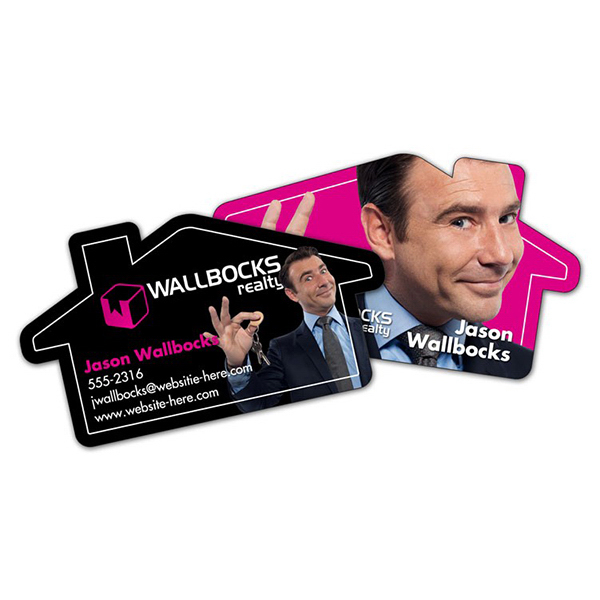 Personalized Extra-Thick UV-Coated (1S) Paper Business Card House Shape