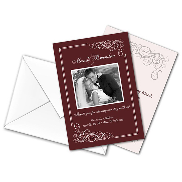 Personalized Wedding Thank You Card Flat with Printed Envelopes - 3.5 x 5