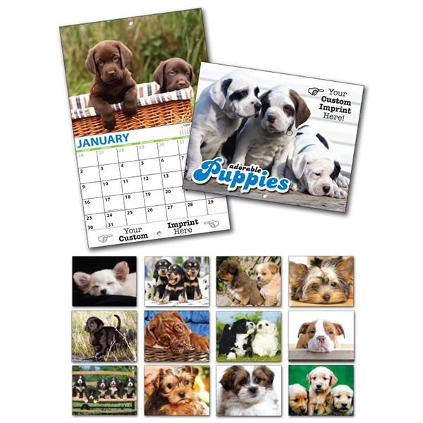 Customized 13 Month Custom Appointment Wall Calendar - PUPPIES